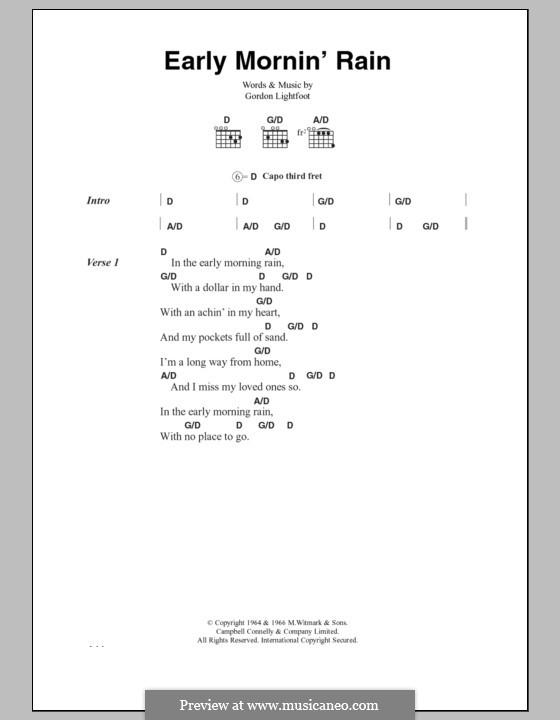 Early Morning Rain (Eva Cassidy): Text und Akkorde by Gordon Lightfoot