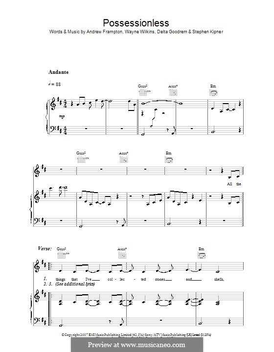 Possessionless (Delta Goodrem): Für Stimme und Klavier (oder Gitarre) by Andrew Frampton, Stephen Alan Kipner, Wayne Wilkins