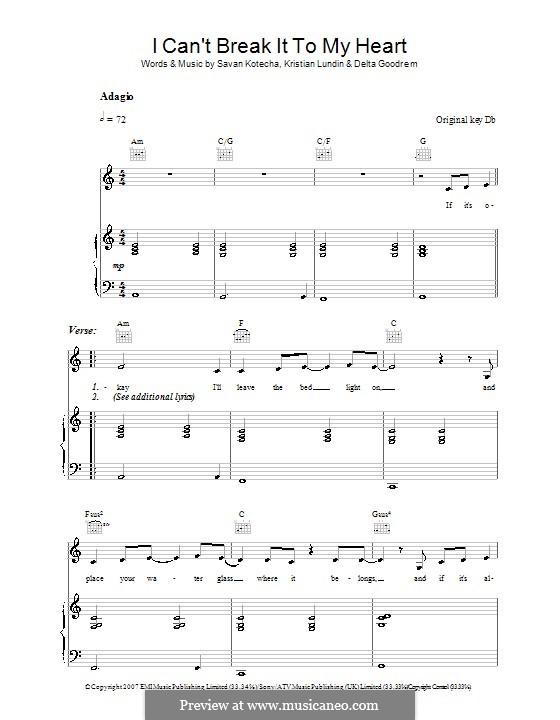 I Can't Break It To My Heart: Für Stimme und Klavier (oder Gitarre) by Kristian Lundin, Savan Kotecha