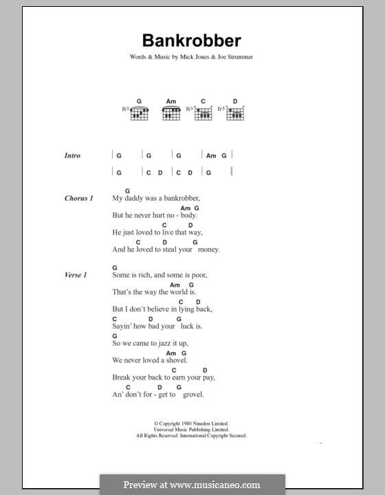 Bankrobber (The Clash): Text und Akkorde by Joe Strummer, Mick Jones