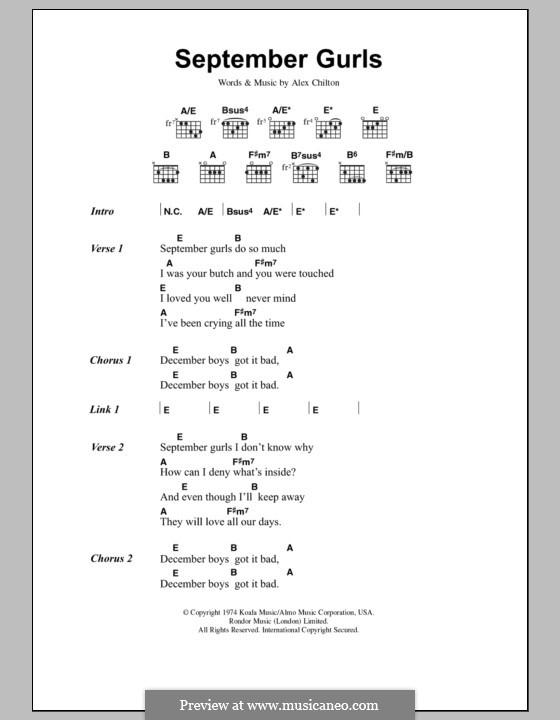 September Gurls (Big Star): Text und Akkorde by Alex Chilton
