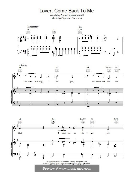 Lover, Come Back to Me (from New Moon): Für Stimme und Klavier (oder Gitarre) by Sigmund Romberg