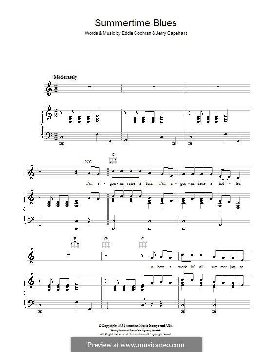 Summertime Blues: Für Stimme und Klavier (oder Gitarre) by Jerry Capehart