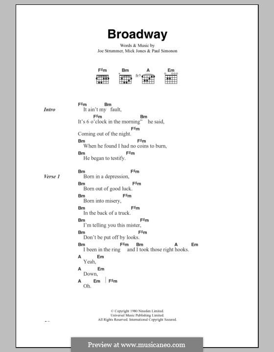 Broadway (The Clash): Text und Akkorde by Joe Strummer, Mick Jones, Paul Simonon