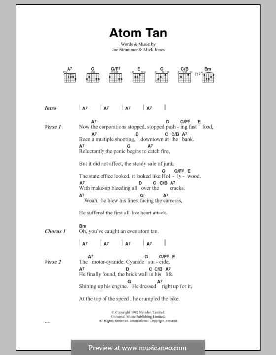 Atom Tan (The Clash): Text und Akkorde by Joe Strummer, Mick Jones