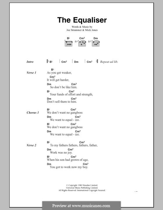 The Equaliser (The Clash): Text und Akkorde by Joe Strummer, Mick Jones