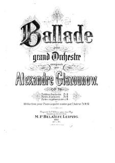 Ballade für Orchester, Op.78: Bearbeitung für Klavier, vierhändig by Alexander Glazunov