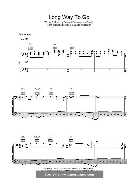 Long Way To Go (Powderfinger): Für Stimme und Klavier (oder Gitarre) by Bernard Fanning, Darren Middleton, Ian Haug, John Collins, Jon Coghill