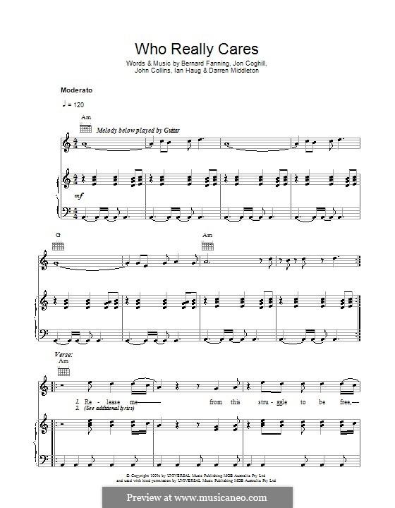 Who Really Cares (Powderfinger): Für Stimme und Klavier (oder Gitarre) by Bernard Fanning, Darren Middleton, Ian Haug, John Collins, Jon Coghill