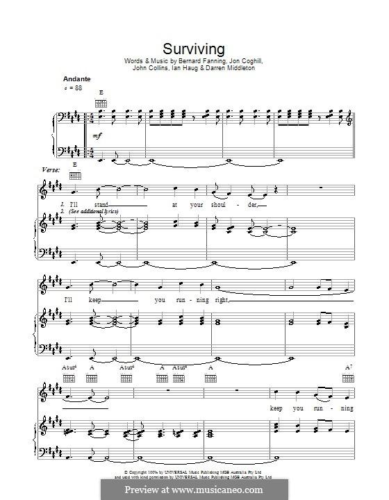 Surviving (Powderfinger): Für Stimme und Klavier (oder Gitarre) by Bernard Fanning, Darren Middleton, Ian Haug, John Collins, Jon Coghill