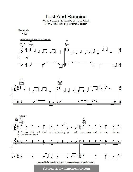 Lost and Running (Powderfinger): Für Stimme und Klavier (oder Gitarre) by Bernard Fanning, Darren Middleton, Ian Haug, John Collins, Jon Coghill