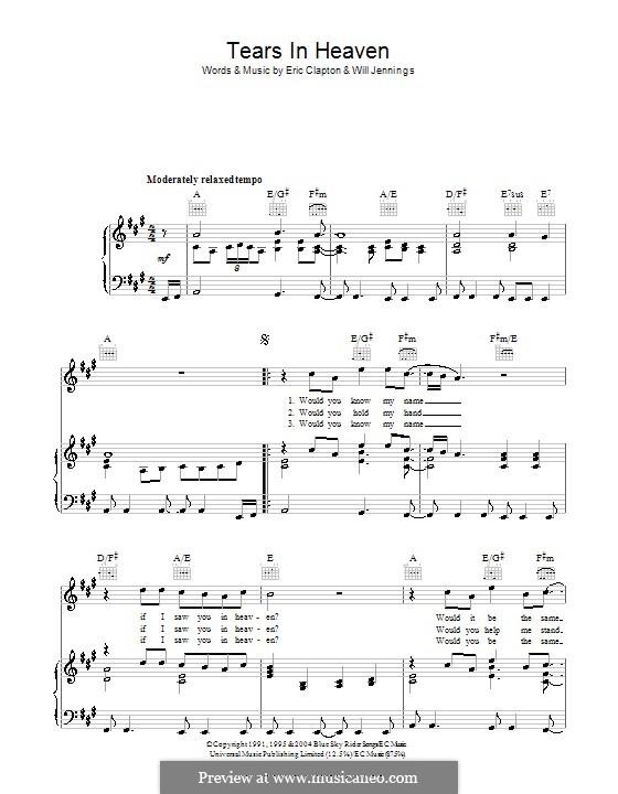 Tears in Heaven: Für Stimme und Klavier (oder Gitarre) by Eric Clapton, Will Jennings