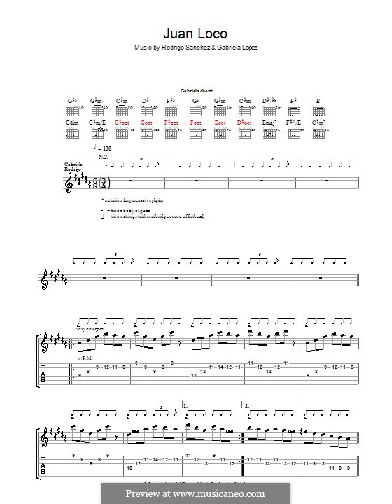 Juan Loco: Für Gitarre mit Tab by Gabriela Lopez, Rodrigo Sánchez