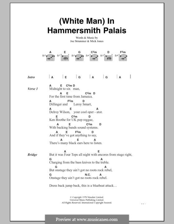White Man in Hammersmith Palais (The Clash): Text und Akkorde by Joe Strummer, Mick Jones