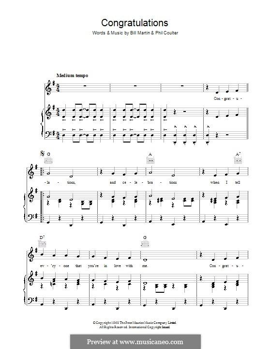Congratulations (Cliff Richard): Für Stimme und Klavier (oder Gitarre) by Billy Martin, Phil Coulter
