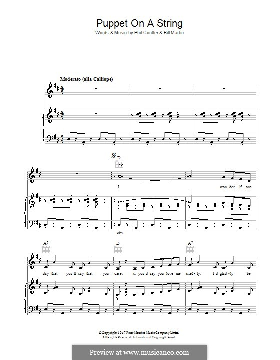 Puppet on a String (Sandie Shaw): Für Stimme und Klavier (oder Gitarre) by Billy Martin, Phil Coulter
