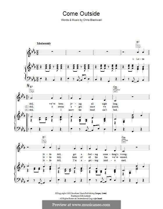 Come Outside (Mike Sarne): Für Stimme und Klavier (oder Gitarre) by Chris Blackwell