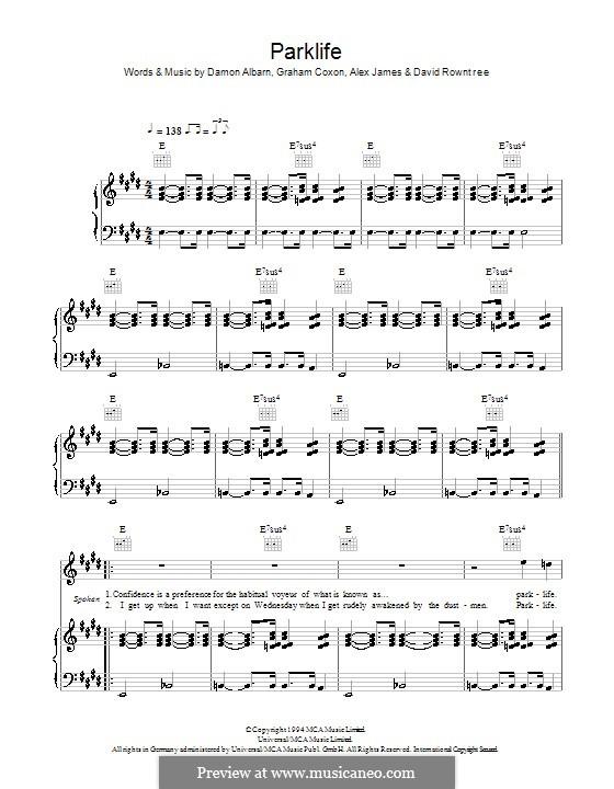 Parklife (Blur): Für Stimme und Klavier (oder Gitarre) by Alex James, Damon Albarn, David Rowntree, Graham Coxon