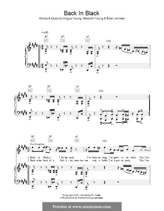 Back in Black (AC/DC): Für Stimme und Klavier (oder Gitarre) by Angus Young, Brian Johnson, Malcolm Young