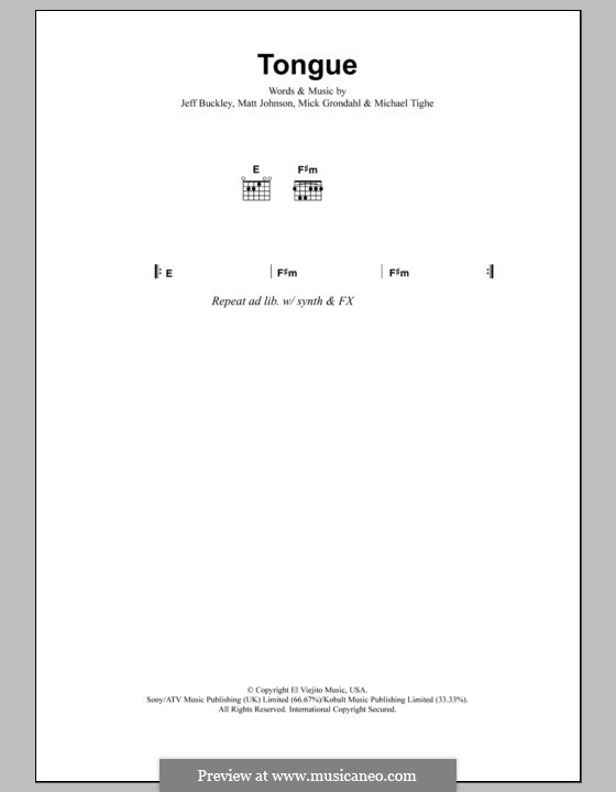 Tongue: Texte und Akkorde by Matthew Johnson, Michael Tighe, Mick Grondahl