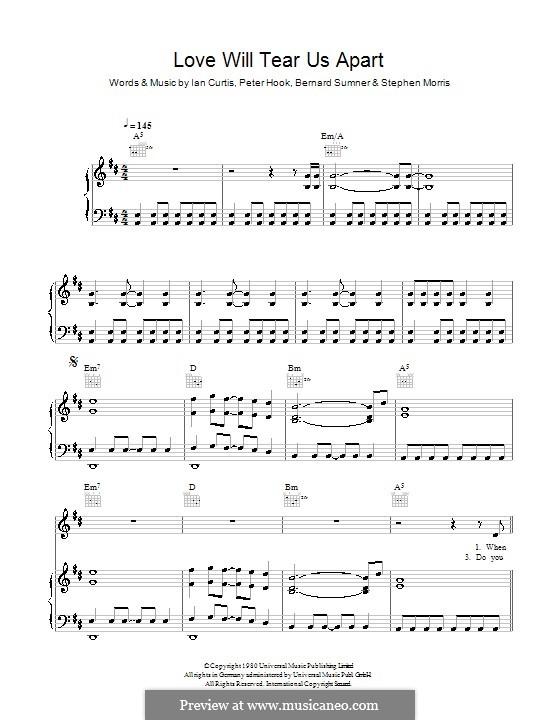 Love Will Tear Us Apart (Joy Division): Für Stimme und Klavier (oder Gitarre) by Bernard Sumner, Ian Curtis, Peter Hook, Stephen Morris