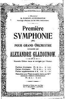 Simphonie Nr.1 in E-Dur, Op.5: Vollpartitur by Alexander Glazunov