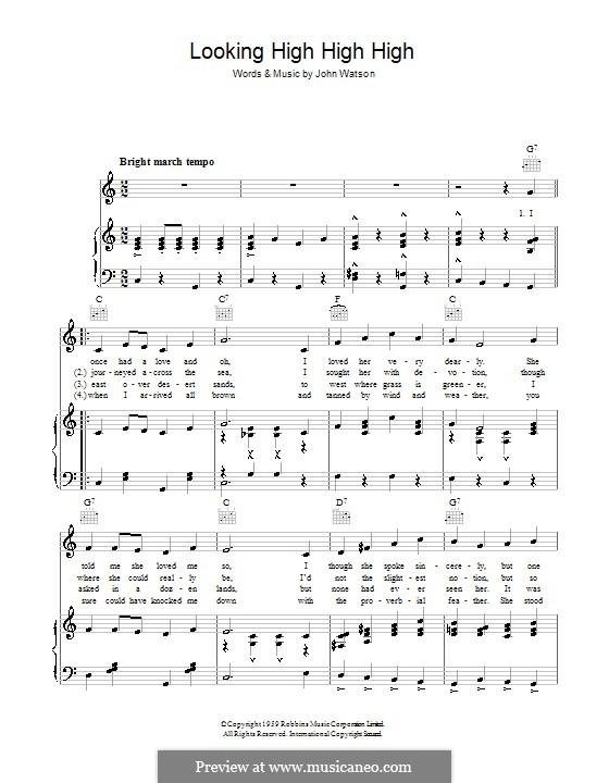 Looking High High High: Für Stimme und Klavier (oder Gitarre) by Johnny Watson