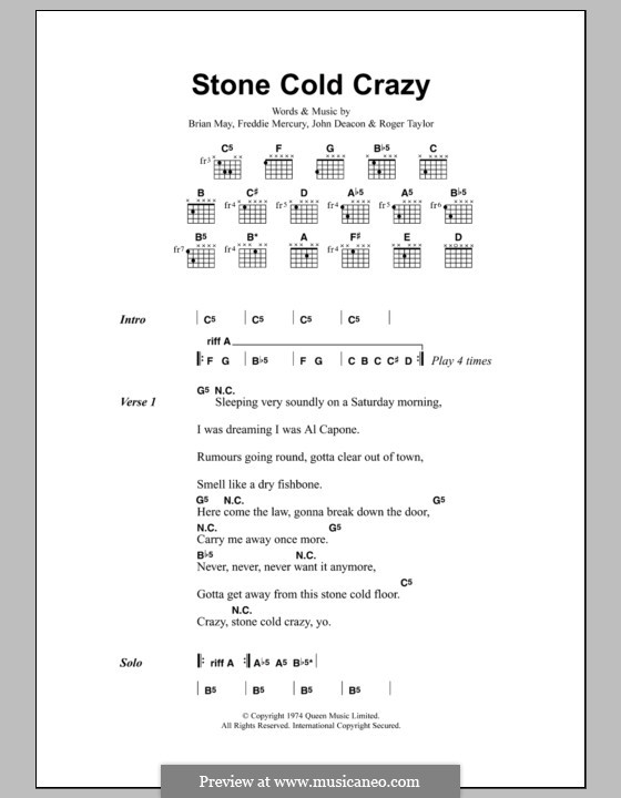 Stone Cold Crazy (Queen): Text und Akkorde by Brian May, Freddie Mercury, John Deacon, Roger Taylor