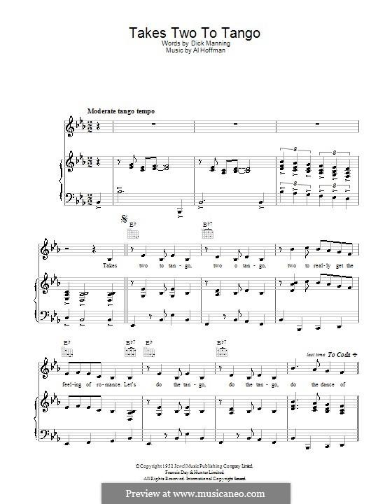 Takes Two to Tango: Für Stimme und Klavier (oder Gitarre) by Al Hoffman