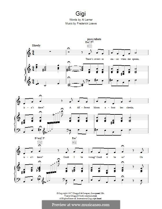 Gigi: Für Stimme und Klavier (oder Gitarre) by Frederick Loewe