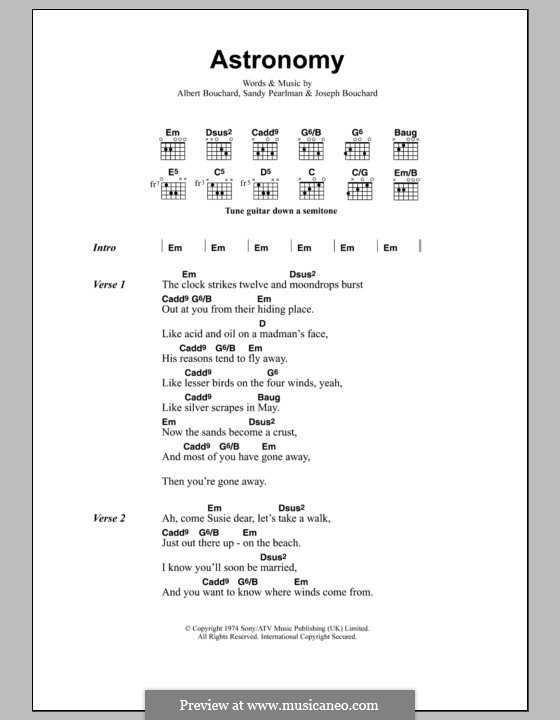 Astronomy: Text und Akkorde (Metallica) by Albert Bouchard, Joseph Bouchard, Sandy Pearlman