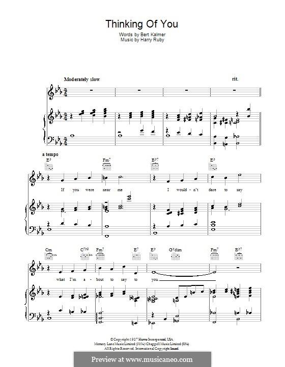 Thinking of You: Für Stimme und Klavier (oder Gitarre) by Harry Ruby