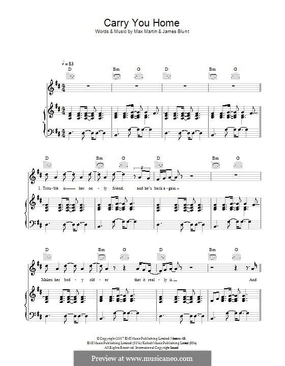 Carry You Home: Für Stimme und Klavier (oder Gitarre) by James Blunt, Max Martin