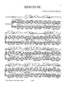 Wiegenlied für Cello und Klavier, Op.46: Partitur by Daniel Van Goens