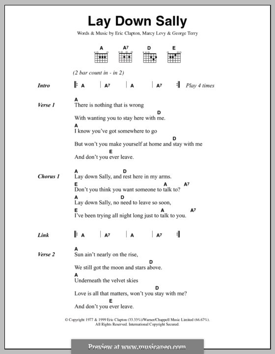 Lay Down Sally: Text und Akkorde by George Terry, Marcy Levy