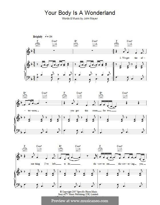 Your Body Is a Wonderland: Für Stimme und Klavier (oder Gitarre) by John Mayer