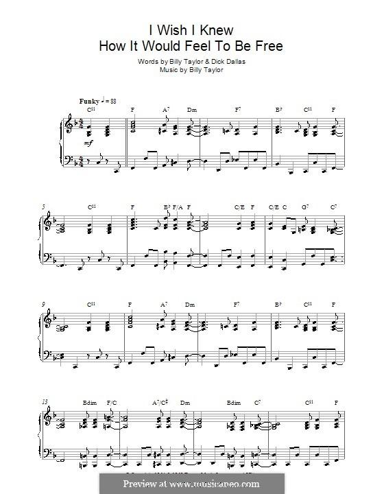 I Wish I Knew How it Would Feel to Be Free: Für Klavier (Nina Simone) by Billy Taylor