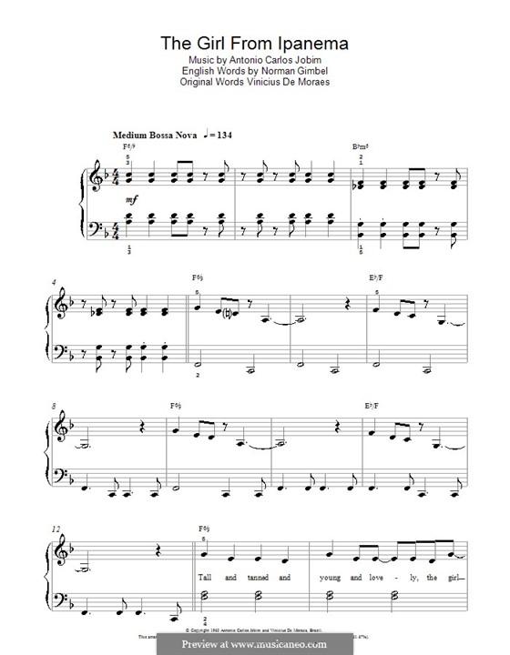 The Girl from Ipanema (Garota de Ipanema), for Piano: Version für leichtes Klavier by Antonio Carlos Jobim