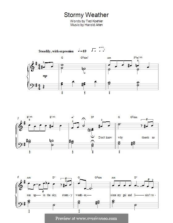 Stormy Weather (Lena Horne): Für Klavier, leicht by Harold Arlen