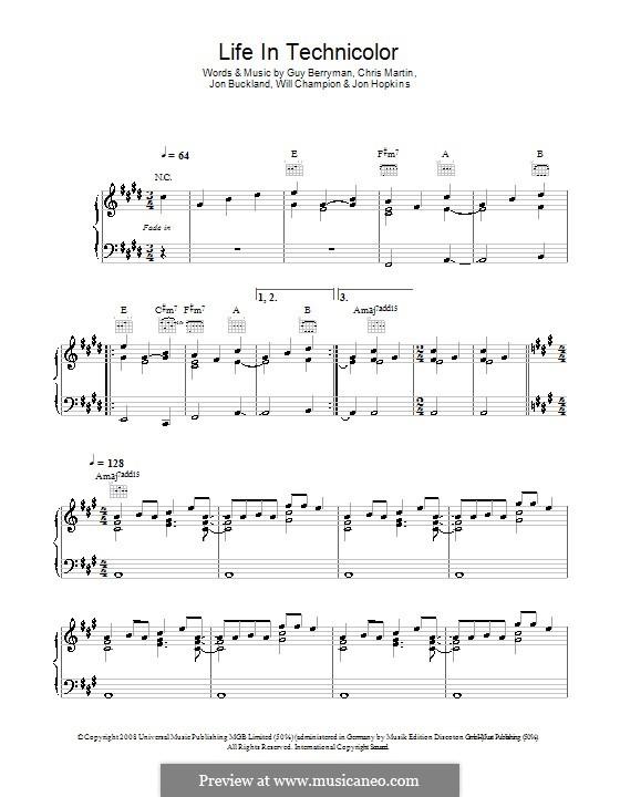Life in Technicolor (Coldplay): Für Stimme und Klavier (oder Gitarre) by Chris Martin, Guy Berryman, Jonny Buckland, Jon Hopkins, Will Champion