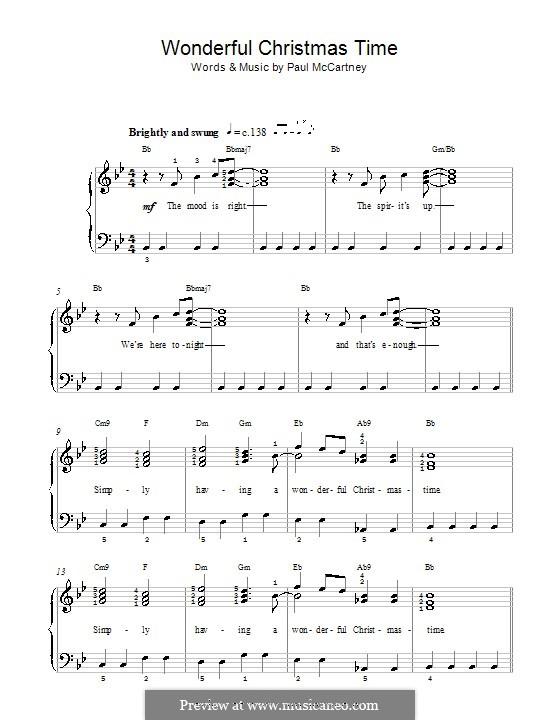 Wonderful Christmastime: Für Klavier (leicht, mit Akkordenbezeichnung) by Paul McCartney
