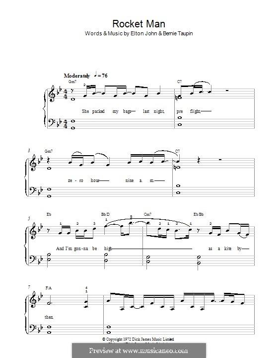 Rocket Man (I Think It's Gonna Be a Long Long Time): Für Klavier, leicht (G Minor) by Elton John