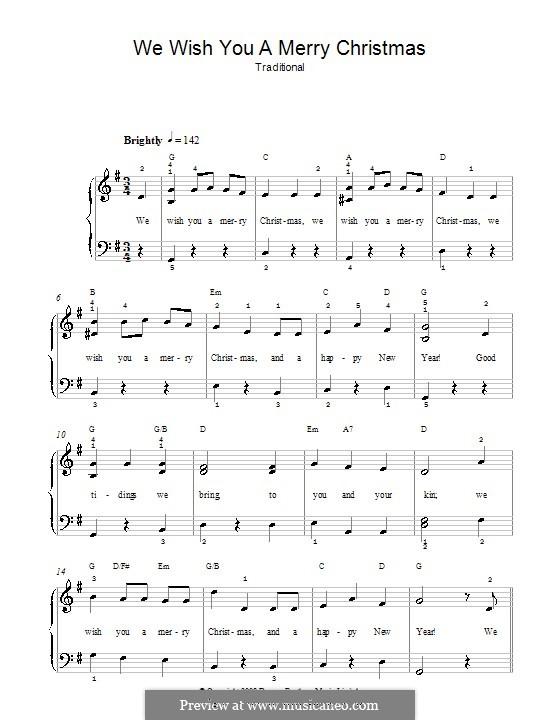 We Wish You a Merry Christmas, for Piano: Für Klavier (leicht, mit Akkordenbezeichnung) by folklore