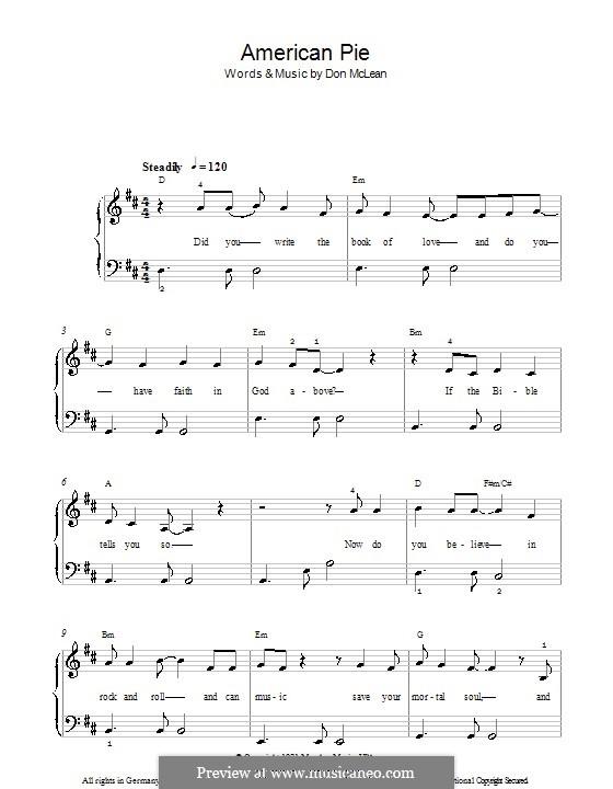 American Pie (Madonna): Für Klavier, leicht by Don McLean