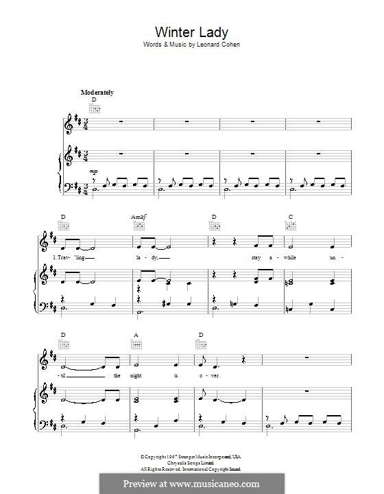 Winter Lady: Für Stimme und Klavier (oder Gitarre) by Leonard Cohen