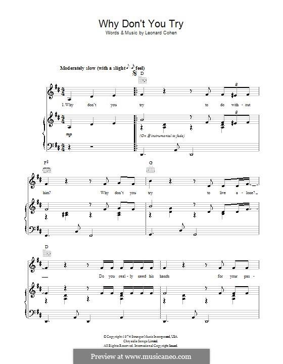 Why Don't You Try: Für Stimme und Klavier (oder Gitarre) by Leonard Cohen