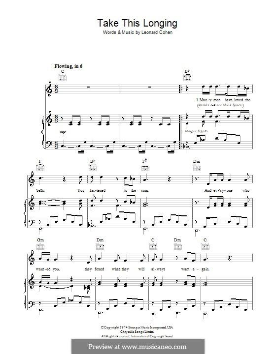 Take This Longing: Für Stimme und Klavier (oder Gitarre) by Leonard Cohen