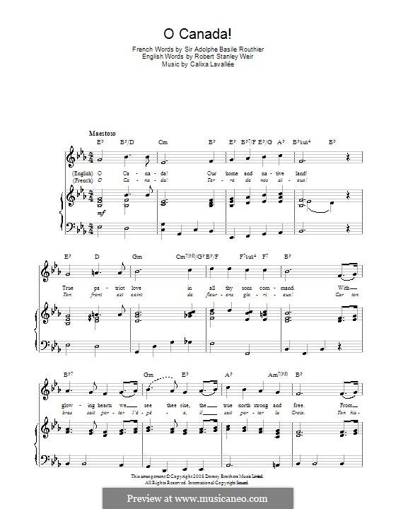 Ô Canada: Voice, guitar and piano by Calixa Lavallée
