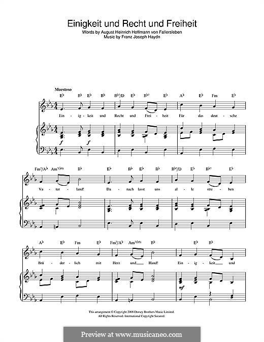 Einigkeit und Recht und Freiheit: Für Stimme und Klavier (oder Gitarre) by Joseph Haydn