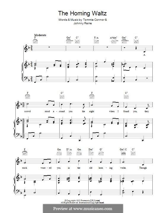 The Homing Waltz (Dickie Valentine): Für Stimme und Klavier (oder Gitarre) by Johnny Reine, Tommie Connor